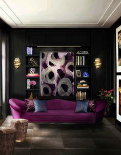 Purple and Black Living Room Furniture. 20 Purple and Black Living Room Furniture. top 8 Manhattan Dream Living Rooms to Inspire You Dark Living Rooms, Living Room Sofa, Living Room Furniture, Living Room Decor, Bedroom Decor, Master Bedroom, Gothic Bedroom, Dining Room, Dream Bedroom