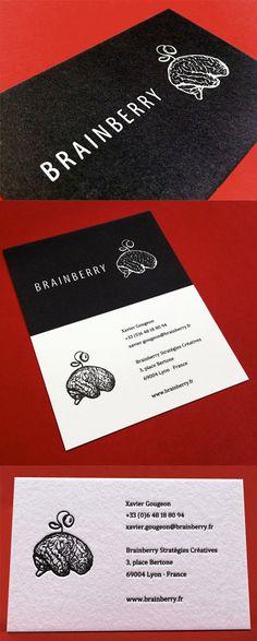 Distinctive Black And White Letterpress Business Card Design