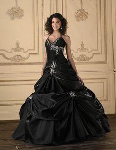 2016 Black Taffeta Wedding Dress Bridal Ball Gown Custom Size 6-8-10-12-14-16-18