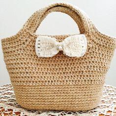 「受注製作」麻ひもバッグ+ころんと可愛いホワイトのリボン (A tiny flower)