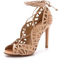 Schutz Dubianna Lace Up Sandals ($150) ❤ liked on Polyvore featuring shoes, sandals, heels, pale peach, schutz shoes, leather heel sandals, peep toe shoes, leather sandals and peach sandals