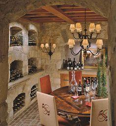 The Enchanted Home: Stellar wine cellars.uncork the possibilities! Tasting Room, Wine Tasting, Home Wine Cellars, Mexico House, Enchanted Home, Wine Decor, Tuscan Style, Wine Storage, Dining Area