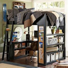 Wish I had this loft for school. more storage space and desk space. Oh.. and the awesome bulletin board.