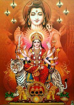 Lord Shiva and Shri Mata Vaishno Devi Shiva Parvati Images, Durga Images, Lakshmi Images, Shiva Shakti, Lord Durga, Durga Ji, Lord Vishnu, Navratri Puja, Maa Durga Image