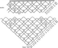 Scialle Crochet marrone schema  #crochet #lace