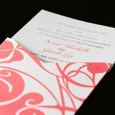 Susan and Jacob - Maybe a coral damask design as the sleeve and solid graphite card insert with yellow/white text? Or solid coral sleeve with the above - to be discussed ~Crystal.