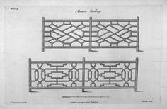 Figure Railing designs as depicted in Thomas Chippendale's The Gentleman and Cabinet Maker's Director, p. Railing Design, Stair Railing, Fence Design, Staircase Design, Stairs, Wood Railing, Railing Ideas, Fence Ideas, Door Ideas