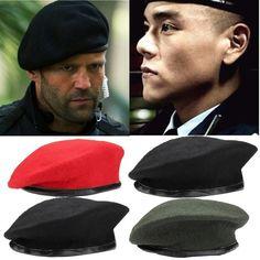 8c08478bb55a2 Unisex Military Army Soldier Hat Wool Beret Men Women Uniform Adjustable  Cap US