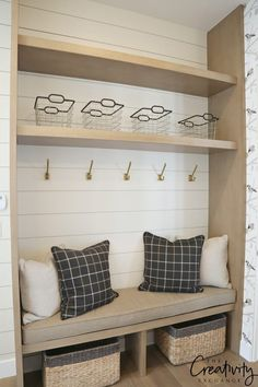 Home Decorating Ideas Bathroom Painted shiplap mudroom wall. Home Decorating Ideas Bathroom Source : Painted shiplap mudroom wall. Home Design, Interior Design, Design Ideas, Design Design, Mudroom Laundry Room, Bench Mudroom, Closet Mudroom, Mudroom Cabinets, Entry Bench