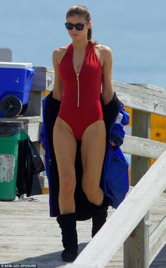 Lifeguard look:  Alexandra Daddario looked great as she slipped into the iconic red one-piece to film the new Baywatch movie in Savannah, Georgia on Thursday
