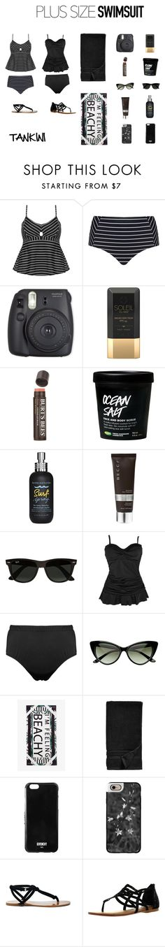 """Plus Size Swimsuit Tankinis"" by jessicasanderstx ❤ liked on Polyvore featuring Cactus, Soleil Toujours, Burt's Bees, Bumble and bumble, Becca, Ray-Ban, Monki, Waterworks, Givenchy and Casetify"