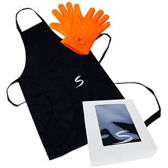 Barbecue Gift Set - Cooking Gloves Heat Resistant for Traeger, Weber and Smoker with BBQ Apron. SiliSafe Charcoal Grill Accessories Set. >>> Continue to the product at the image link.