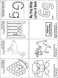 beginning letter sounds worksheet this site has little books for each letter, also other activities for alphabet (maybe other, too -- look later) Preschool Letters, Learning Letters, Preschool Kindergarten, Kids Learning, Letter G Activities, Literacy Activities, Letter G Worksheets, Handwriting Worksheets, Literacy Centers