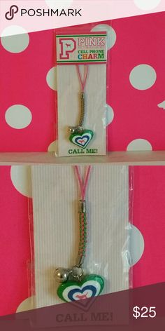Victoria's Secret PINK Cell Phone Charm Brand new in package. Victoria's Secret PINK Cell Phone Charm. Multi~ Colored puffed heart and little bell hang from cord. Can be hung from rearview mirror, attached to your backpack, handbag or use as a cute zipper pull. Victoria's Secret Accessories