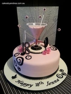 caaaakee 18th Birthday Cake For Girls, 2 Tier Birthday Cakes, Martini Cake, Debut Cake, Butterfly Cakes, Birthday Cake Decorating, Baby Shower, Girl Cakes, Love Cake