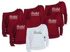 Items similar to 6 Personalized Bridesmaids Shirts. Maid of Honor Shirts. Bachelorette Party Off The Shoulder Shirts. on Etsy Bridal Party Shirts, Bachelorette Party Shirts, Wedding Shirts, Bachelorette Ideas, Bachelorette Weekend, Bridal Entourage, Bridesmaid Shirts, Bridesmaid Ideas, Bridesmaid Quotes