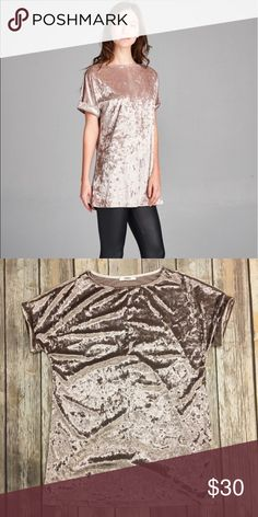 Champagne velvet top Super soft and stretchy champagne velvet top. A relaxed fit. 92% polyester 8% Spandex Gorgeous color!! Tops Tees - Short Sleeve