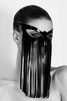 Inspired by the fringe more than the eye shape of the mask. Sexy Latex, Leather Mask, Leather Fringe, Fashion Mask, Masks Art, Fetish Fashion, Tribal Fusion, Dark Fashion, Headgear