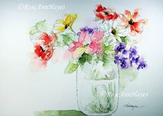 Mixed Bouquet in Glass Jar Print of Watercolor Painting Flowers Floral Garden Daisies Poppies