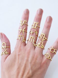 Sterling Silver Horoscope Rings / Personalized Astrology por cieron