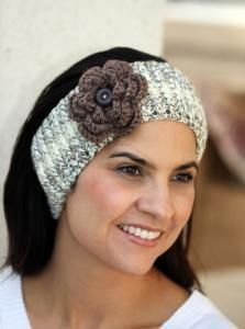 Headband for Women - Taupe and Cream - Handmade Crocheted Flower Gift for Her - Neutral Hair Accessory $25.00 Buy and Sell Crafts On Line | Handmade Crafts to Sell? Free Posting
