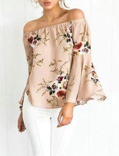 Cute Suit Bateau Floral Print Top