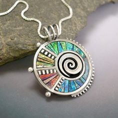 Iridescent Mosaic inlay Silver and Polymer Clay Pendant
