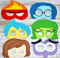 Inside out inspired mask Made with felt Attaches with elastic for easy on and off Perfect for party favors or just for everyday fun! If: