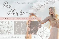 FREE Floristic Patterns by OlyaI am so excited to introduce the new very elegant Des Fleurs collection of Floristic Seamless Patterns for Free Photoshop Patterns, Watercolor Kit, Wreath Drawing, Best Free Fonts, Photoshop Me, Instagram Post Template, Seamless Background, Free Graphics, Vector Pattern