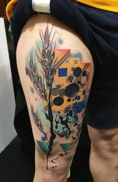 Abstract Colorful Wheat Tattoo