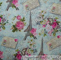 BonEful-FABRIC-FQ-Cotton-VTG-Aqua-Pink-Rose-Flower-Eiffel-Tower-Paris-Butterfly