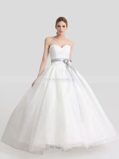 Ivory Sweetheart Tulle over Satin Ball Gown with Lace Bodice and Bowknot
