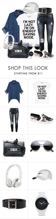 """Untitled #441"" by claudiadessi on Polyvore featuring 7 For All Mankind, Steve Madden, Proenza Schouler, Beats by Dr. Dre, NIKE, Dolce&Gabbana and Nixon"