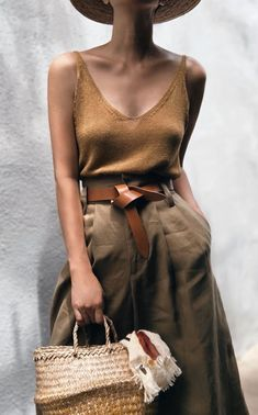 cute vacation outfit, wide leg pants, chic and casual, brown leather belt, brown tank top, womens casual outfit, womens neutral outfits, cute outfits, womens bohemian outfits