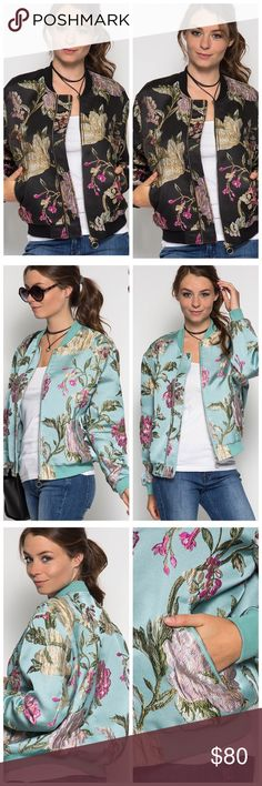 Embroidered bomber jacket Black bomber jacket flower embroidering. Fits true to size. Material is thick, fancy looking Jackets & Coats