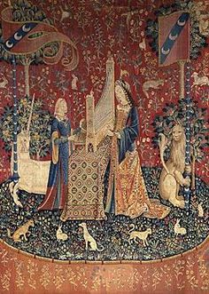 The Lady and the Unicorn 'Hearing'; fifteenth-century tapestry. (Musée National du Moyen Âge)