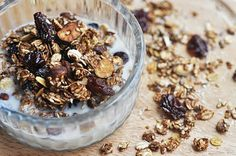 Low Fat Cocoa Cherry Granola - the milk turns to chocolate milk after a little while from the cocoa powder! How yummy is that?!