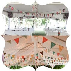 Decora el techo de la carpa con preciosos banderines artesanales - de blog.fiestafacil.com / Decorate the ceiling of the tent with fun pennant banners - from blog.fiestafacil.com
