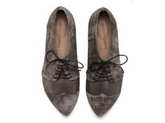 Polly Jean smoke grey shoes flat shoes leather by TamarShalem, $189.00