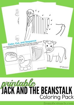 Jack and the Beanstalk is such a fun story to share with your preschooler and now, after you've read the story, you can continue to enjoy the characters with this printable coloring pack! Preschool Themes, Preschool Printables, Preschool Crafts, Fairy Tale Activities, Book Activities, Fairy Tale Theme, Fairy Tales, Fine Motor Activities For Kids, Jack And The Beanstalk