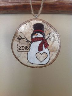 2016 Personalized Snowman Ornament by BurnwoodCreations on Etsy