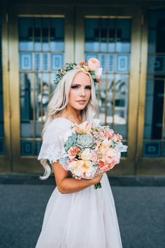 Succulent and Rose Bouquet and floral crown Utah Wedding