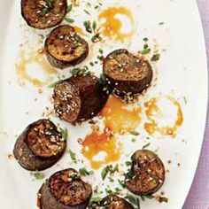 Glazed Eggplant with Sesame Seeds and Chives.