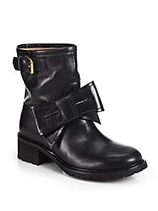 RED Valentino - Leather Bow Mid-Calf Boots