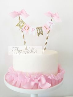 Cake Smash Pink and Gold Cake Topper, Smash Cake Photo Prop, 1st Birthday Cake Bunting