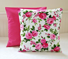 Pink roses shabby chic cushion cover, 16 inch cerise pink decorative pillow cover pink roses shabby chic cushion cover 16 inch by LittleJoobieBoo,