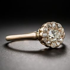 Antique Diamond and Rose Gold Cluster Ring - 10-1-6385 - Lang Antiques