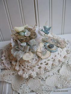 vintege fabric lace pin cushion