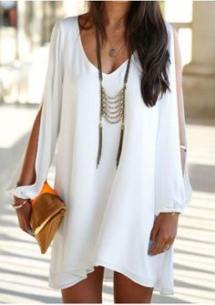 Long Sleeve Casual Chiffon Dress Without Necklace