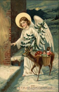 Vintage Christmas Post Card, Angel with Deer Carrying Gifts Christmas Greetings